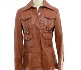 Brown Leather Coat for Women with Six Front Pockets