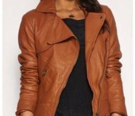 Bold Brown Biker Leather Jacket for Women