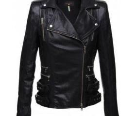 Attractive Double Collar Women Leather Biker Jacket
