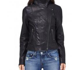 Elegant Black Colored Leather Jacket for Women