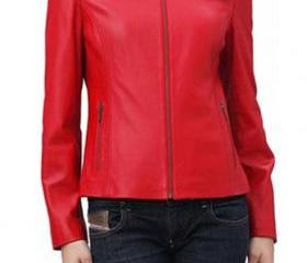 Women's Crop Cowskin Leather Jacket - Leather Jacket for Women