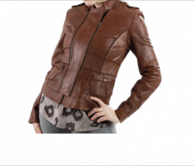 Slim Double Zip Leather Jacket for Women