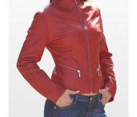 Modern and Trendy Red Colored Handmade Leather Jacket for Women