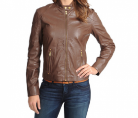 Milky Chocolate Nappa Leather Jacket for Women