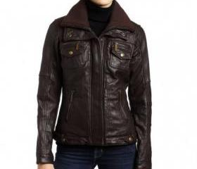 Graceful and Chic Handmade Brown Tinted Leather Jacket for Women