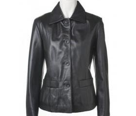Glamorous Handmade and Black Colored Leather Jacket for Women
