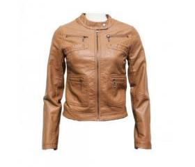 Fit and Trendy Handmade Tan Brown Shaded Leather Jacket for Women