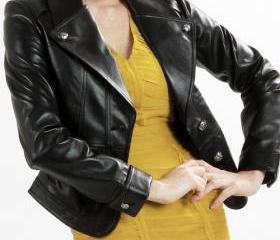 Exquisite women slim black leather blazer