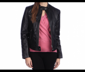 Chic Textured women leather jacket