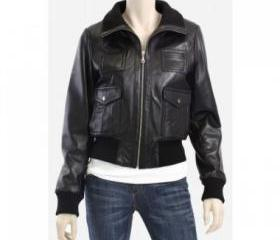 Black Zip Up Bomber Women Biker Leather Jacket
