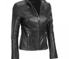 Beautifully Handmade Black Colored Leather Jacket for Women