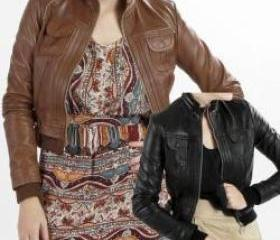 Avenue Bomber Leather Jacket for Women