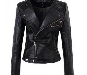 Attractive Black Colored Leather Jacket for Women
