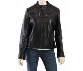 Women Black Biker Jacket with Real Leather