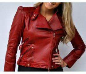 Ravishing Riva Red Style Red Biker Leather Jacket