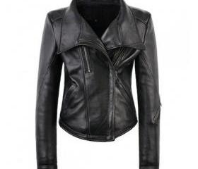 Outstanding Handmade Black Shaded Leather Jacket for Women