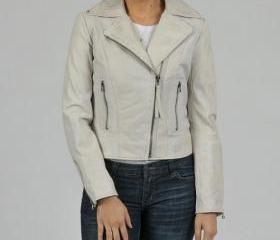 Gracefully Made Handmade White Leather Jacket for Women