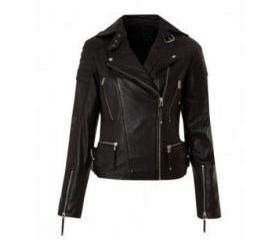 Decent and Charming Black Colored Leather Jacket for Women