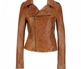 Women Distressed Brown Leather Motorcycle Jacket