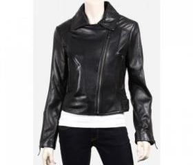 Versatile Black Biker Leather Jacket for Women