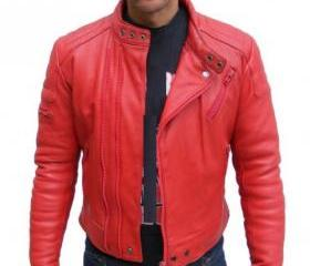 Archetypal and Voguish Handmade Red Biker Leather Jacket for Men