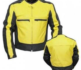 Men's Simple Style Yellow and Black Biker Motorcycle Leather Jacket