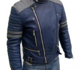 Comforting Blue Colored Handmade Leather Jacket for Men