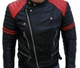 Reddish Stripped Black Leather Jacket for Men