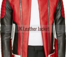 CUSTOM MADE MEN BLACK & RED BIKER LEATHER JACKET