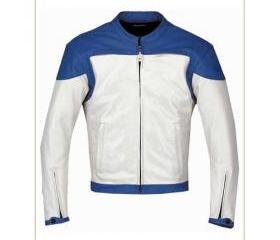 Men's Simple Style Blue and White Biker Leather Jacket