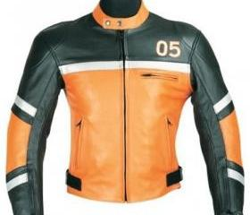 Men's Simple Style Black & Orange Biker Motorcycle Leather Jacket