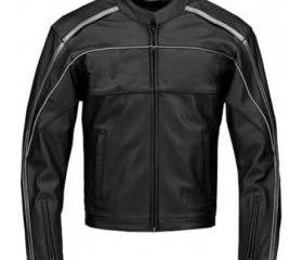 Men's Simple Style Biker Leather Jacket (Black)
