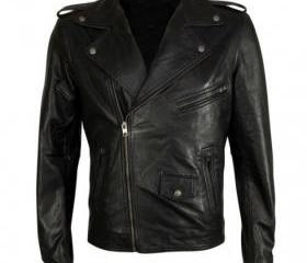 Dashing Handmade Black Colored Biker Leather Jacket for Men
