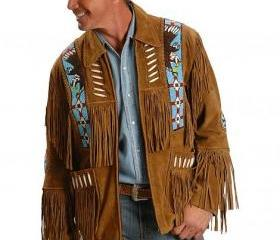 Eagle Bead Fringed Brown Suede Western Cowboy Men Brwon Leather Jacket