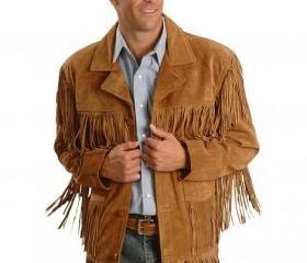 Mens Scully Leather Western wear Brown Suede Leather Jacket Fringe Bead & Bones