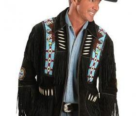 Eagle Bead Fringed Suede Western Cowboy Men Black Leather Jacket